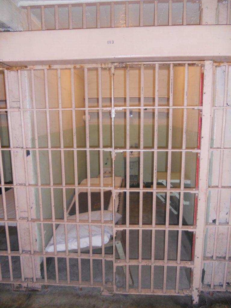 glauque dans les cellules d'alcatraz