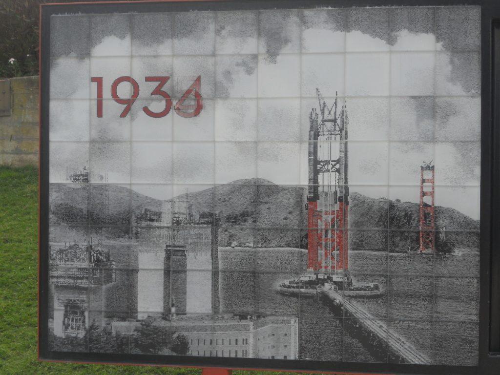 ici en 1934 au début des travaux du Golden Gate Bridge